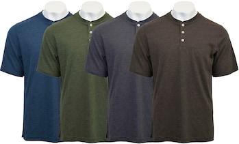 Victory Sportswear Men's Cotton Henley Short Sleeve T-Shirt (M-2XL)
